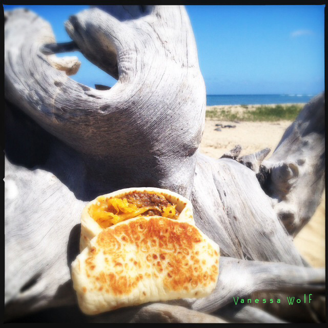 OK. We admit it. We didn't actually try this here Sausage Flatbread Melt. That driftwood was covered in bird poo and we honestly couldn't face one more bite of sausage. Photo by Vanessa Wolf.