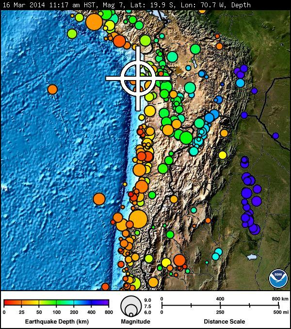 Chile earthquake, March 16, 2014, image courtesy Pacific Tsunami Warning Center.