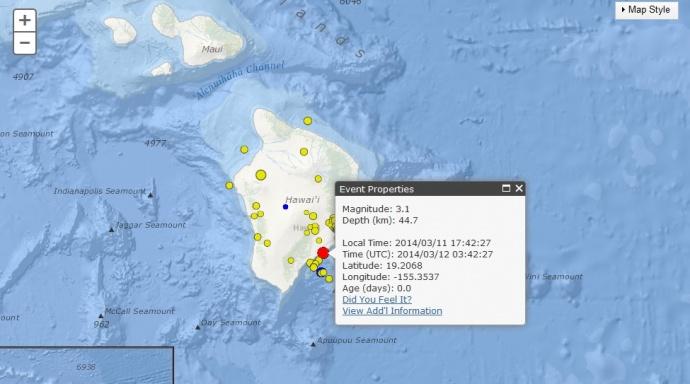 Hawaiʻi Island earthquake, March 11, 2014.