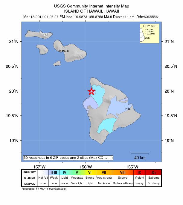 Hawaiʻi Island earthquake, March 13, 2014.  Map courtesy USGS/Hawaiian Volcano Observatory.