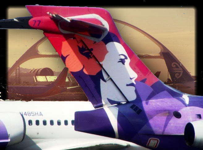 Hawaiian Airlines / LAX, graphics by Wendy Osher.