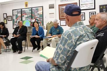 Hirono with veterans. Courtesy photo.