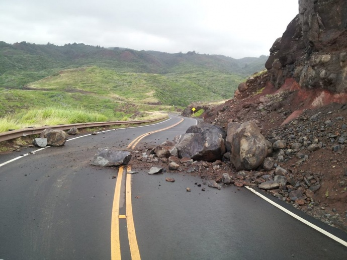 A flood advisory was lifted at around 12:30 p.m. on 3/15/14, and is expected to give way to strong and gusty winds throughout the state. Earlier on Saturday, heavy rains were reported along the northeast facing slopes of Haleakalā and the West Maui Mountains, resulting in this rockslide at Honokōhau at around 8:20 this morning 3/15/14. Photo courtesy: Bryson Chartrand.