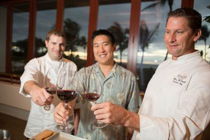 Makena Beach & Golf Resort's Food & Wine Education Series exhibits wine expertise of the world's second youngest Master Sommelier, Patrick Okubo and Makena's Executive Chef Marc McDowell and Chef Kurt Lesmerises. Photo Credit: Jessica Pearl Photography