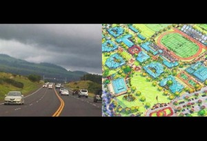 Piʻilani Highway (left) file photo by Wendy Osher; Kīhei High School EIS (right), Courtesy image.
