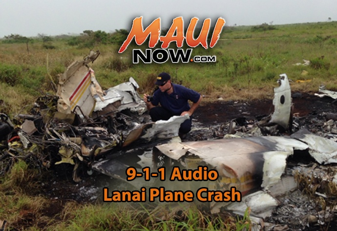 9-1-1 Lānaʻi Plane Crash Audio. NTSB investigator Andrew Swick is pictured documenting the wreckage of a Piper PA-31 that crashed in Lanai, HI, on Weds. Feb. 26. Background photo courtesy NTSB.