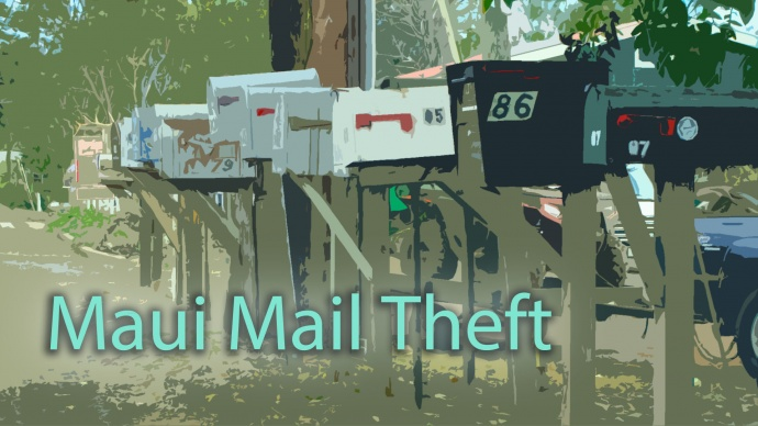 Maui mail theft, graphics by Wendy Osher.