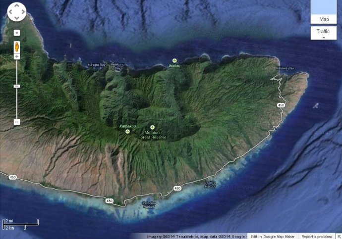 Map of the east end of Molokaʻi.  Image grab courtesy Google Maps.