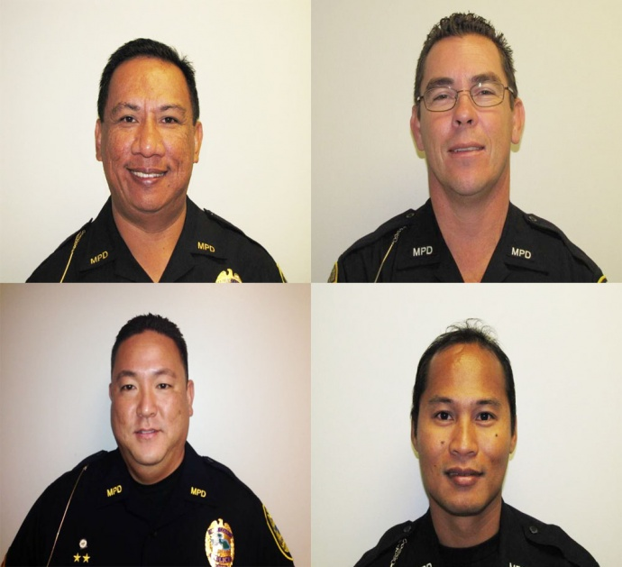 Maui Police sergeant promotions: Samuel Gasmen and David Leffler (top row lt to rt); Kenneth Kihata and Bryan Manlapao (bottom row lt to rt). Photos courtesy Maui Police Department.