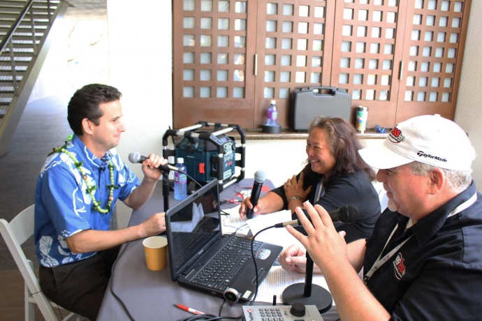 US Senator Brian Schatz (left) being interviewed by Pacific Media Group's Dan and Charly. Photo by Wendy Osher.