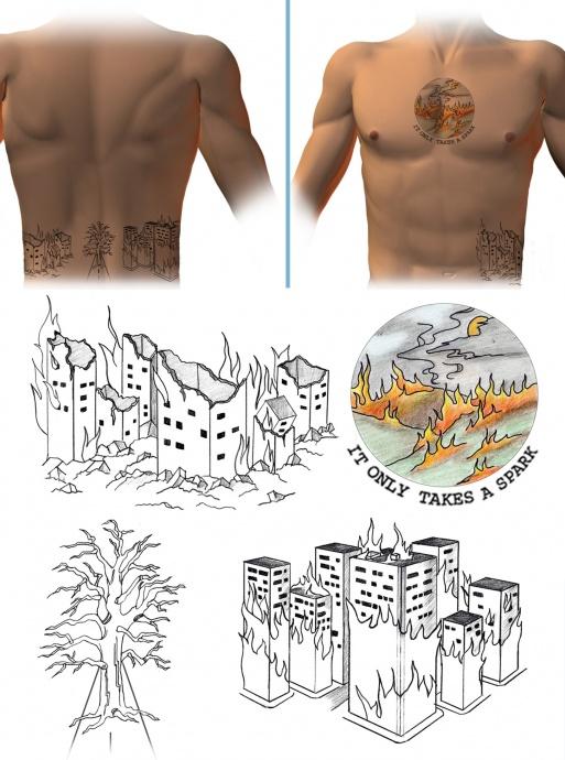Daniel Andreas San Diego tattoos. Images courtesy FBI.