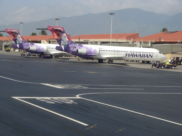 Hawaiian Airlines at Kahului Airport. File photo by Wendy Osher.