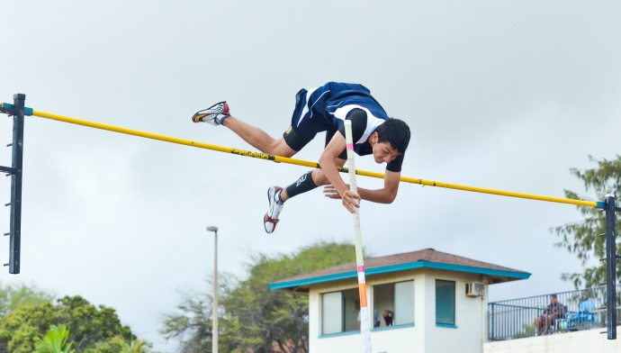 St. Anthony pole vaulter Christopher Rickard  clears the bar 13 feet 6 inches. Photo by Rodney S. Yap.