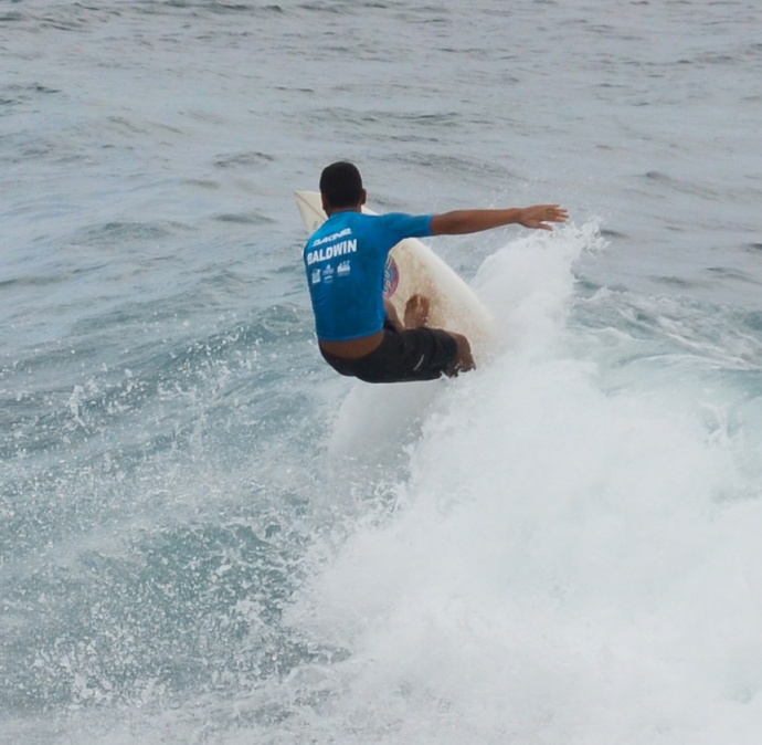 Baldwin boys' competitor gets vertical in the Ho'okipa Beach Park surf Saturday during the quarterfinals of the shortboard division. Photo by Rodney S. Yap.