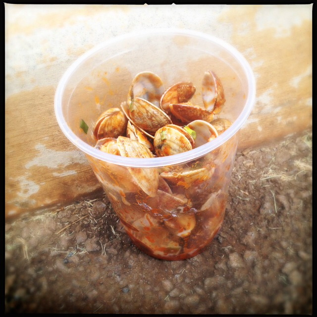 Sometimes a person eats Kimchee Clams in the parking lot. Don't judge. Photo by Vanessa Wolf