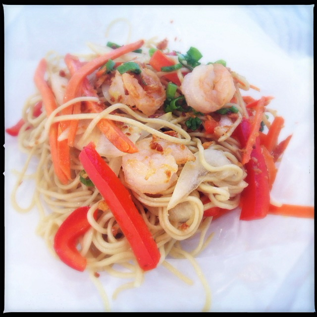 The Loaded Garlic Noodle with Shrimp. Photo by Vanessa Wolf