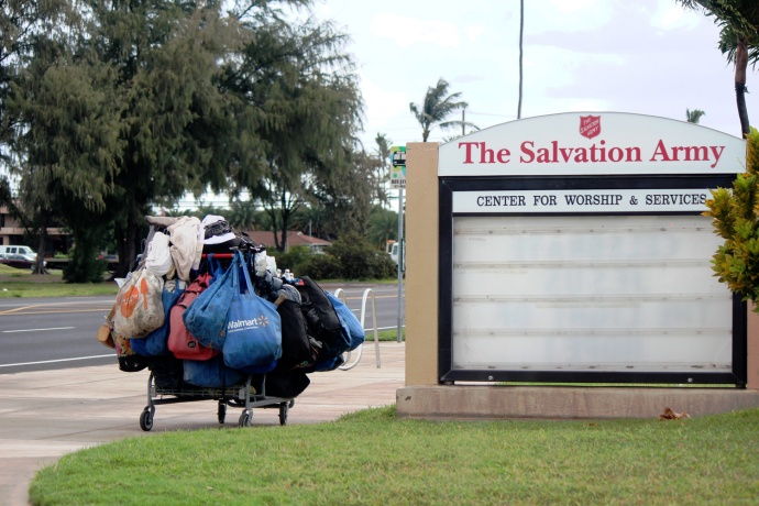 Homelessness in Hawaiʻi. Photo at The Salvation Army on Kamehameha Avenue in Kahului, April 8, 2014, by Wendy Osher.
