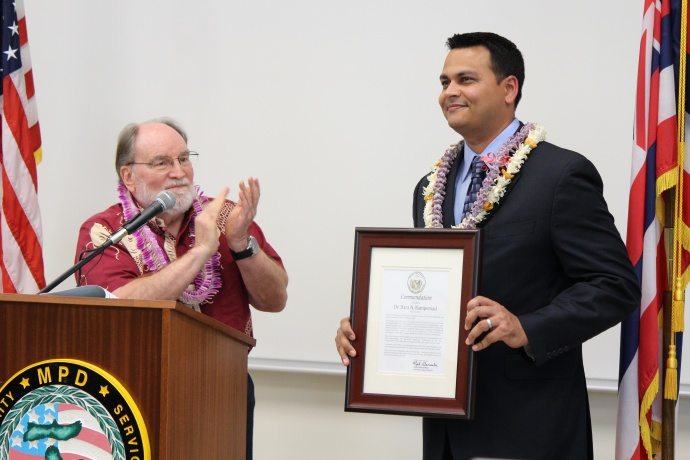 Governor Neil Abercrombie and Dr. Dara Rampersad. Photo by Wendy Osher.