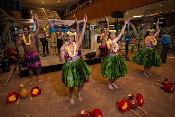 Hawaiian Airlines launched inaugural service between Honolulu and Beijing, the airlines first destination in mainland China. Courtesy photo: PRNewsFoto/Hawaiian Airlines.