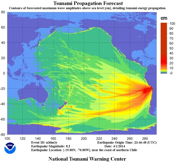 Energy Map, courtesy National Tsunami Warning Center.