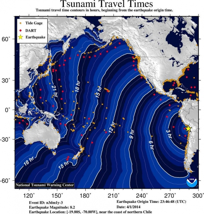 Travel time map, image courtesy National Tsunami Warning Center.