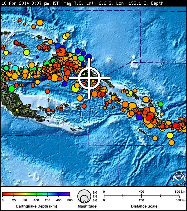 Image of Solomon Islands earthquake, April 10, 2014. Courtesy Pacific Tsunami Warning Center.