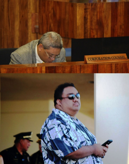 Council members discuss whether the issue is that of cyber bullying or a first amendment issue during council proceedings on Friday, April 4, 2014. Corporation Council Patrick Wong (top), photo by Wendy Osher. Neldon Mamuad (bottom) Maui Now photo.