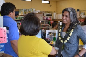 Rep. Gabbard visits businesses in Downtown Kaunakakai. Courtesy photo.