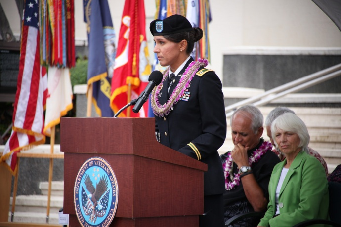Congresswoman Tulsi Gabbard delivered keynote remarks and presented a wreath at the Roll Call of Honor Memorial Day Ceremony at Punchbowl on Oʻahu on Sunday, May 25. She is among the dignitaries scheduled to attend the Memorial Day event at the Makawao Veteran's Cemetery on Maui on Monday, May 26, 2014. Courtesy Photo.