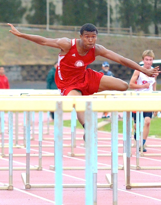 Lahainaluna High School hurdler Emerson Liburd is the states top qualifier in the boys 110 high hurdles. File photo by Rodney S. Yap.