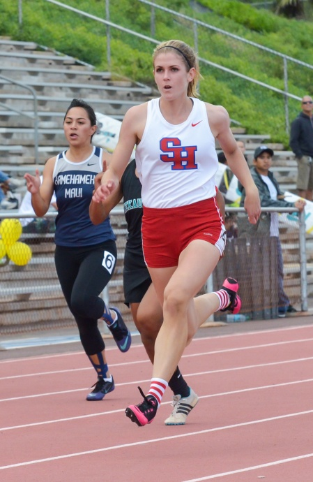Seabury Hall's Alyssa Bettendorf is qualified in the girls 100, 200, 400 and long jump today. File photo by Rodney S. Yap.