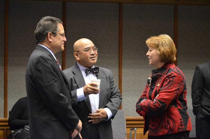Left to Right: Senator J Kalani English, Senator Gil Keith-Agaran, and Senator Roz Baker. Photo Courtesy Senate Communications.