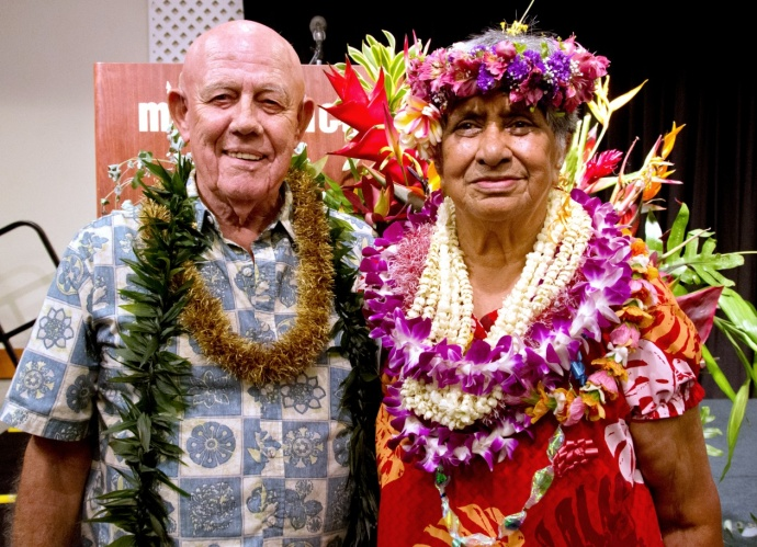 Outstanding Older American Winners Fred Ruge and Kanee Wright pose at the awards luncheon at Maui Beach Hotel.  Photo courtesy: County of Maui / Ryan Piros.