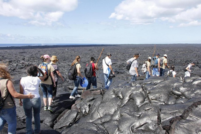 Campers hiked through the lava fields of Kalapana last June.