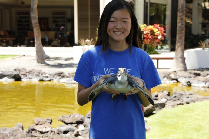 Mililani High School sophomore Kalena Chiu holds a turtle from the Mauna Lani Turtle Restoration Project in Kona. Courtesy photo.
