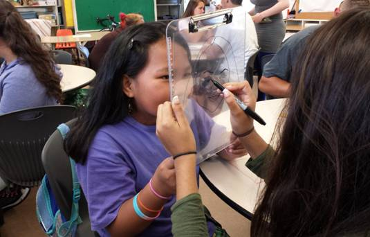 Maui Match: Big Sister Gabrielle and Little Sister Sharlette- at the Kahului Elementary School-Based Mentoring Program- work on their multimedia portraits of each other at an Art-To-Go session. Courtesy photo.
