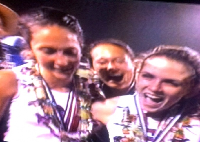 Seabury Hall's Dakota Grossman (left) and Alyssa Bettendorf helped the Spartans to the girls state track team title Saturday on Oahu. Photo from OC16 broadcast.
