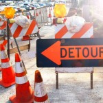 Detour signs. Maui Now file photo.