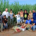 Representing Hōkūleʻa: Timmy Gilliom (captain), Paʻanaʻakalā Babayan (apprentice navigator, going on first leg of Malama Honua to Tahiti), C.J. Elizares; Representing Hui o Waʻa Kaulua: Kimokeo Kapahulehua (President) and crew Friends of Moʻokiha o Piʻilani. Courtesy photo.