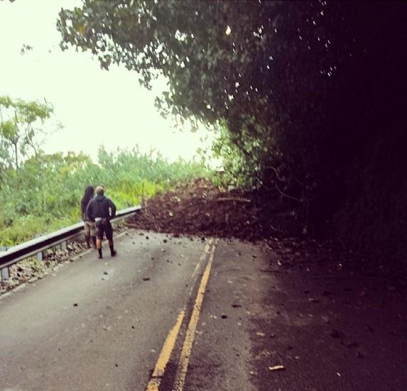 Landslide, Hāna Highway, May 2, 2014. File photo courtesy Kaliko Sanchez.