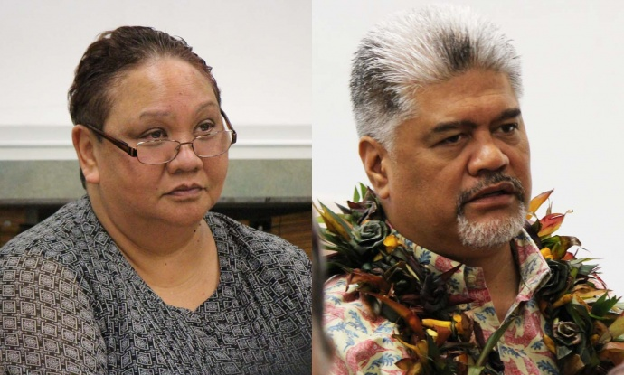 OHA Chair Collette Machado (left) and Dr. Kamana'opono Crabbe (right). Photos by Wendy Osher.