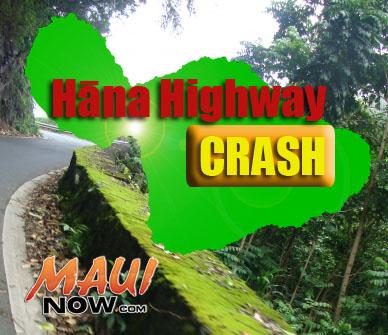 Hāna Highway crash. Maui Now graphic.