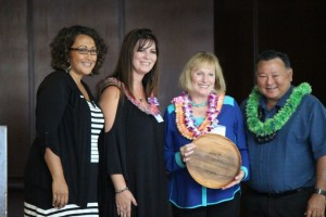 Susan Bendon accepts the Foundation of the Year Award for The Bendon Family Foundation, which contributed $100,000 to Maui United Way this year. Photo by Wendy Osher.