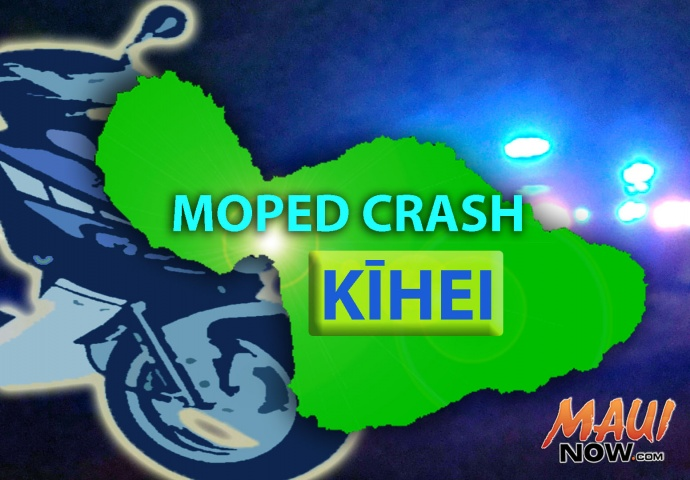 Moped crash. Maui Now graphic.