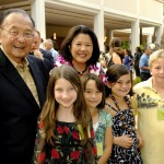 The late Senator Daniel Inouye with his wife Irene and some of the recipients of the MEDB Ke Alahele Education Fund. Courtesy photo.