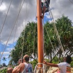 Moʻokiha o Piʻilani crewmembers secure the mast by tightening and tying down stays. Photo by Leilanilynne Hasbrook.