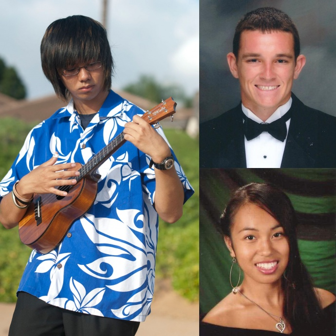 This year's recipients of the Josh Jerman Maui Nui Scholarship program are Tyler Pascua (bottom right) of Lānaʻi High School, Takayoshi Tsutsui (left) of Seabury Hall and Nash Wuthrich (top right) of Baldwin High School.