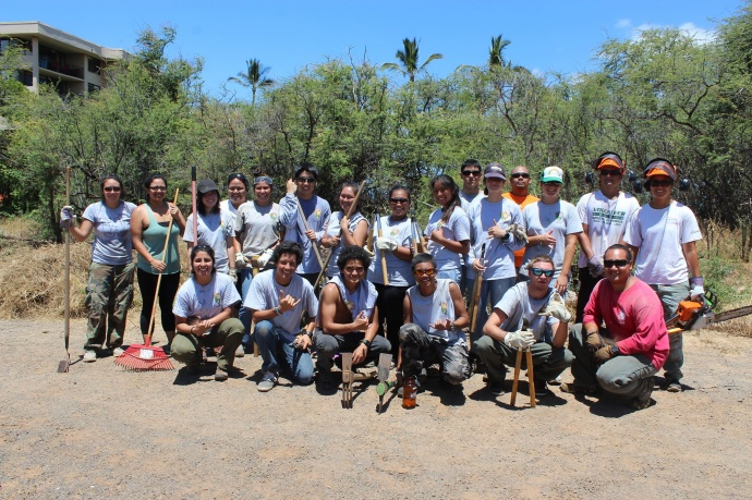 Haleakalā National Park's Pōhai Maile High School interns collaborate with the KIRC's Hui Kāpehe interns at the KIRC Kīhei Boat House property.  Courtesy photo.