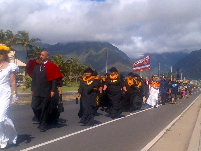 Members of the Royal Order of Kamehameha, Kahekili Chapter from Maui host an annual procession down Kaʻahumanu Avenue in Kahului to commemorate and honor the King who unified the Hawaiian Islands under one rule.  The organization will be joined by members of other royal societies and community groups on the island. File photo by Wendy Osher.