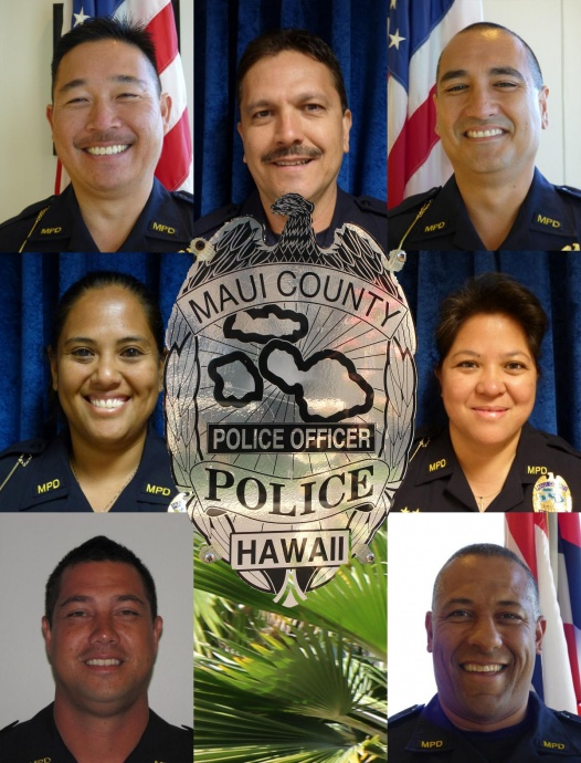 Maui sergeant promotions: (clockwise from top left: Mark Hada; Oscar Martin Del Campo; Frank Keoni Abreu; Edith Nuʻuanu Quintero; Lee Ann Galario Guzman; Michael McCutcheon; and Mike Crowe.